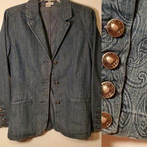 8 | Denim Imprint PAISLEY soft  BLAZER JACKET EUC